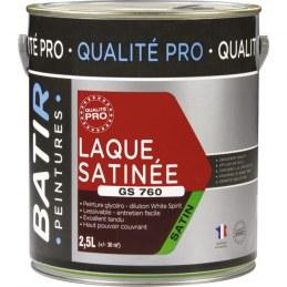 Peinture laque - Blanc - Glycéro - 2.5 L - Aspect satiné - BATIR