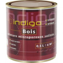 Peinture satinée microporeuse pour bois - Chataigne - 500 ml - INDIGO