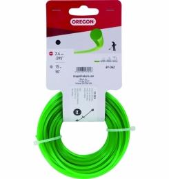 Fil de coupe pour débroussailleuse - Vert - 2.4 mm x 15 M - OREGON