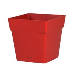 Pot à fleur carré - soucoupe clipsée réserve d'eau - Gamme Toscane - 10.2 L - Rubis - EDA