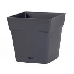 Pot à fleur carré - soucoupe clipsée réserve d'eau - Gamme Toscane - 10.2 L - Gris anthracite - EDA