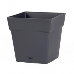 Pot à fleur carré - soucoupe clipsée réserve d'eau - Gamme Toscane - 3.4 L - Gris anthracite - EDA