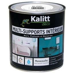 Peinture multi-supports - Intérieur - Satin - Blanc - 0.5 L - KALITT