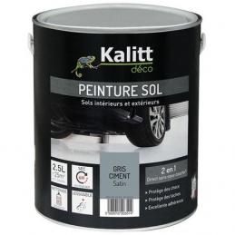 Peinture Spécial sol - Satin - Gris ciment - 2.5 L - KALITT
