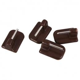 Support adhésif en plastique pour Tringle ovale - Marron- Vendu par 4 - ATELIER 28