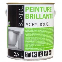 Peinture acrylique - Aspect brillant - Blanc - 2.5 L - BATIR