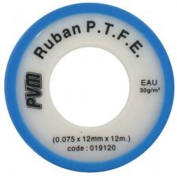 Ruban d'étanchéité P.T.F.E - Téflon - 12 m x 12 mm - 0.075 mm - Lot de 10 - PVM