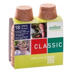 18 pots biodégradables de 8 cm de diamètre - 100 % biodégradables - Classic - ROMBERG
