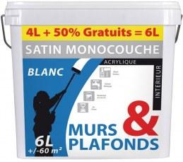 Peinture monocouche - Murs et plafonds - Acrylique - Blanc satin - 6 L - BATIR
