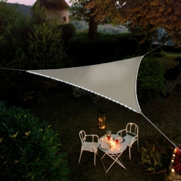 Voile d'ombrage triangulaire - Bordures en Leds solaires - Taupe - MOREL