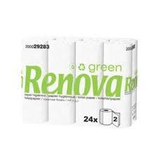 24 Rouleaux Papier Toilette Double Epaisseur, Blanc - RENOVA