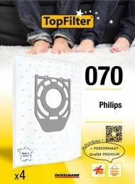 4 Sacs Aspirateur Premium - Philips - Model 070 - TOPFILTER