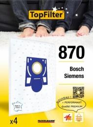 Sac PREMIUM 64870 Bosch Siemens - Lot de 4 - TOPFILTER